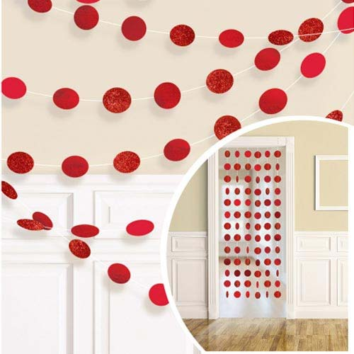 Apple Red Glitter Dot Garland
