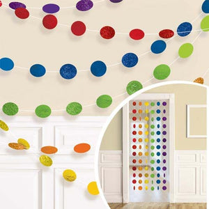 Rainbow Glitter Dot Garland