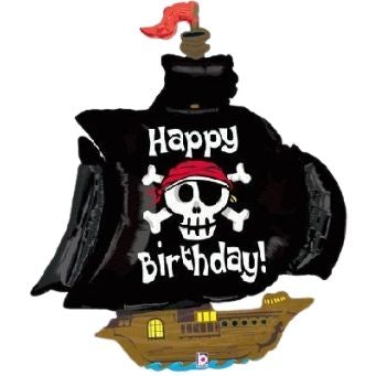 Happy Birthday Pirate Ship Foil Balloon