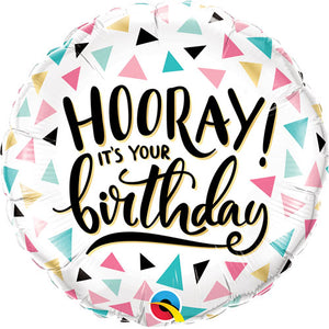 "Hooray it's your Birthday 18"" Foil Balloon"