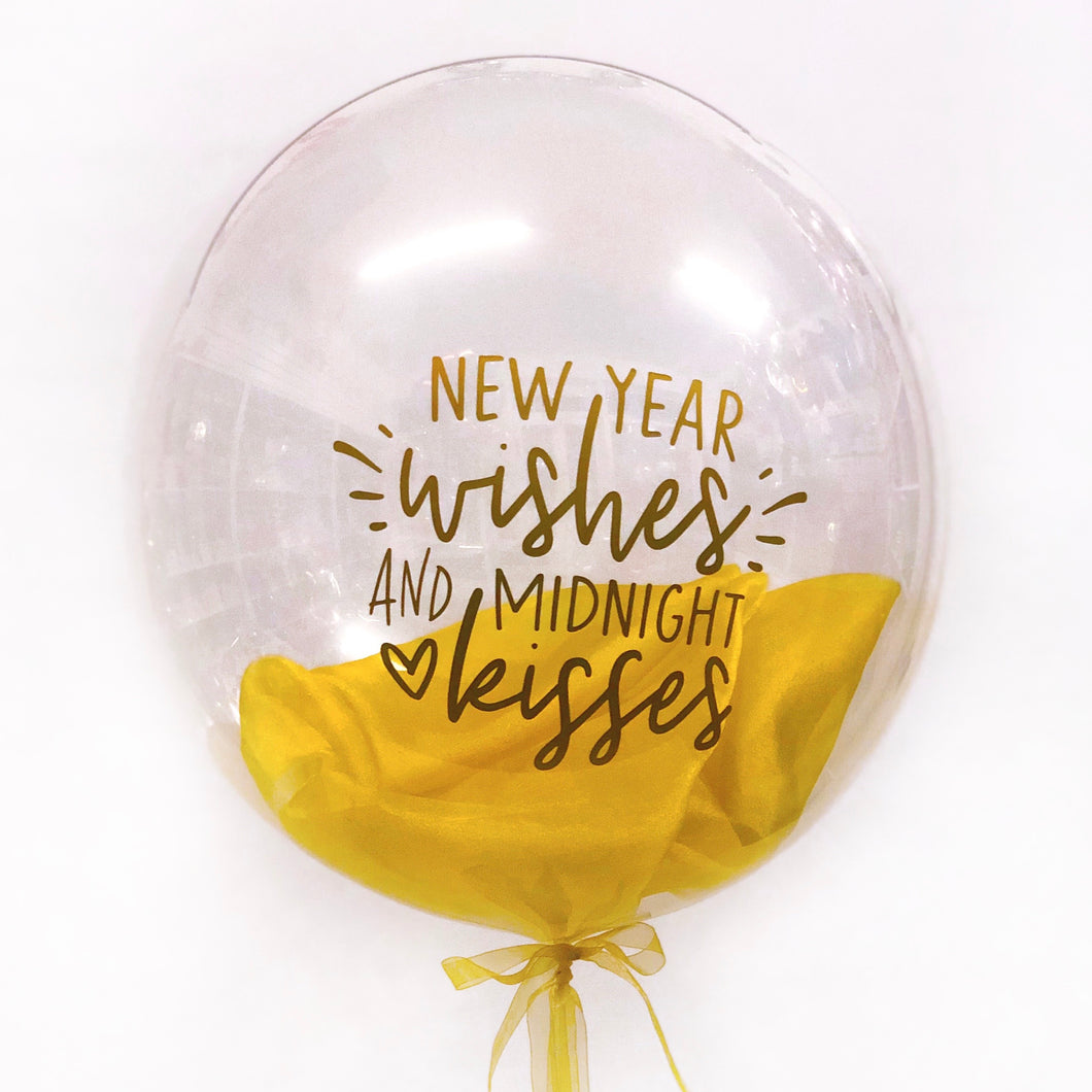New Year Kisses Clear Balloon