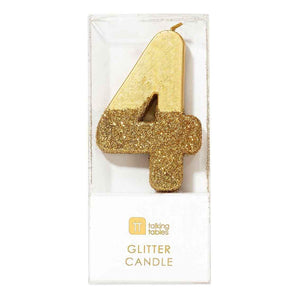 Gold Glitter Candle Number 4