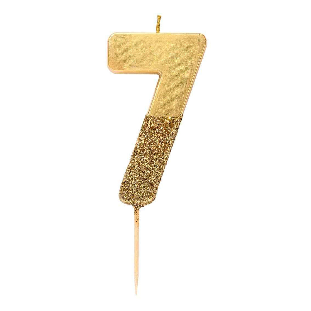 Gold Glitter Candle Number 7