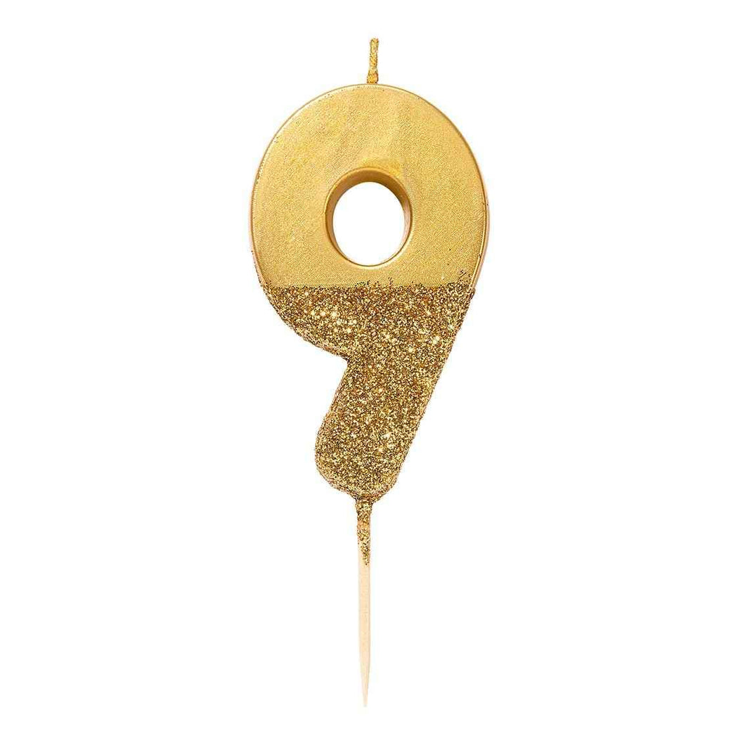 Gold Glitter Candle Number 9