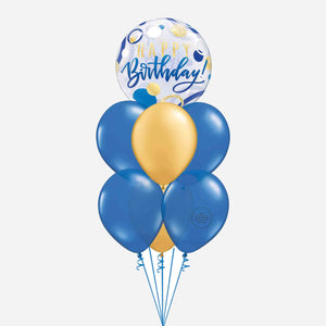 Blue and Gold Bubble Birthday Balloon Bouquet