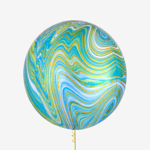 Blue Green Marblez Orbz XL Foil Balloon