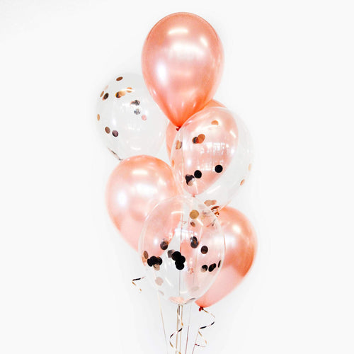 Bouquet of Latex + Confetti Balloons - Pick your colour