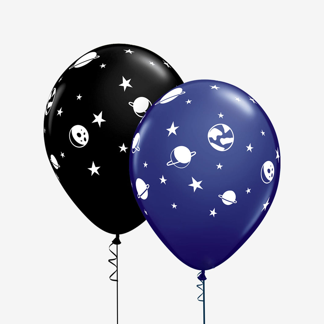 Bouquet of 6 Space Themed Latex Balloons