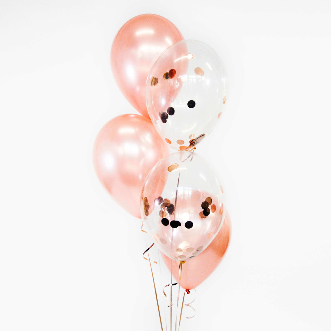 Bouquet of 5 Plain+Confetti Balloons - Pick your colour