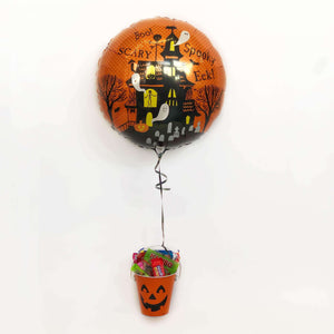Halloween Balloon with Small Bucket of Sweets