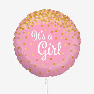 Glittering It's a Girl Holographic Foil Balloon