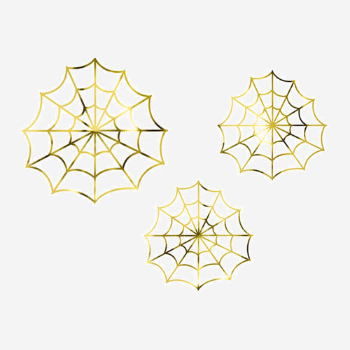 Gold Spiderwebs Paper decorations