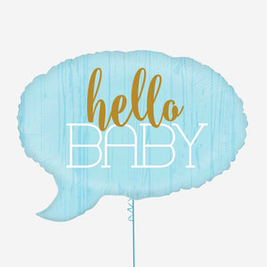 Hello Baby Speech Balloon Shaped Blue Foil Balloon