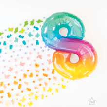"Air Filled 16"" Rainbow Jelly Number Balloons"