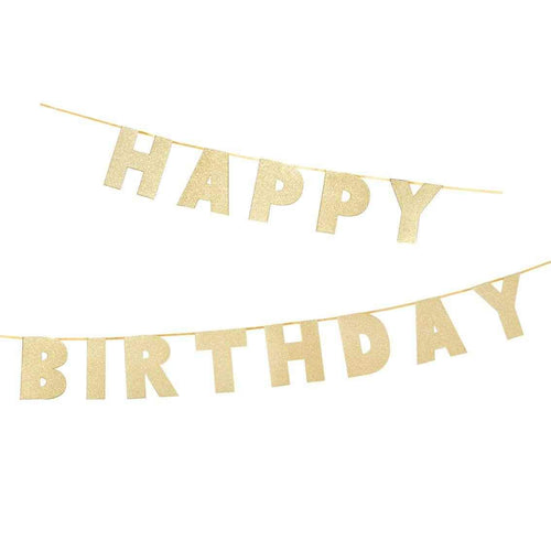 Luxe Gold Happy Birthday Garland Banner