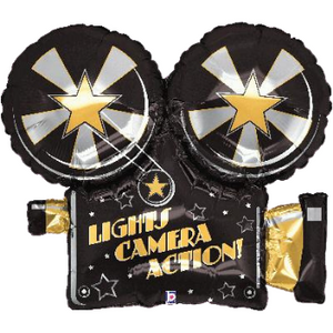 lights camera action helium foil baloon