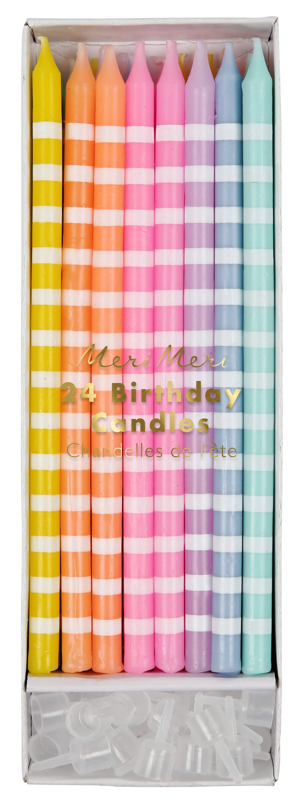 Long Pastel Stripey Cake Candles - Meri Meri