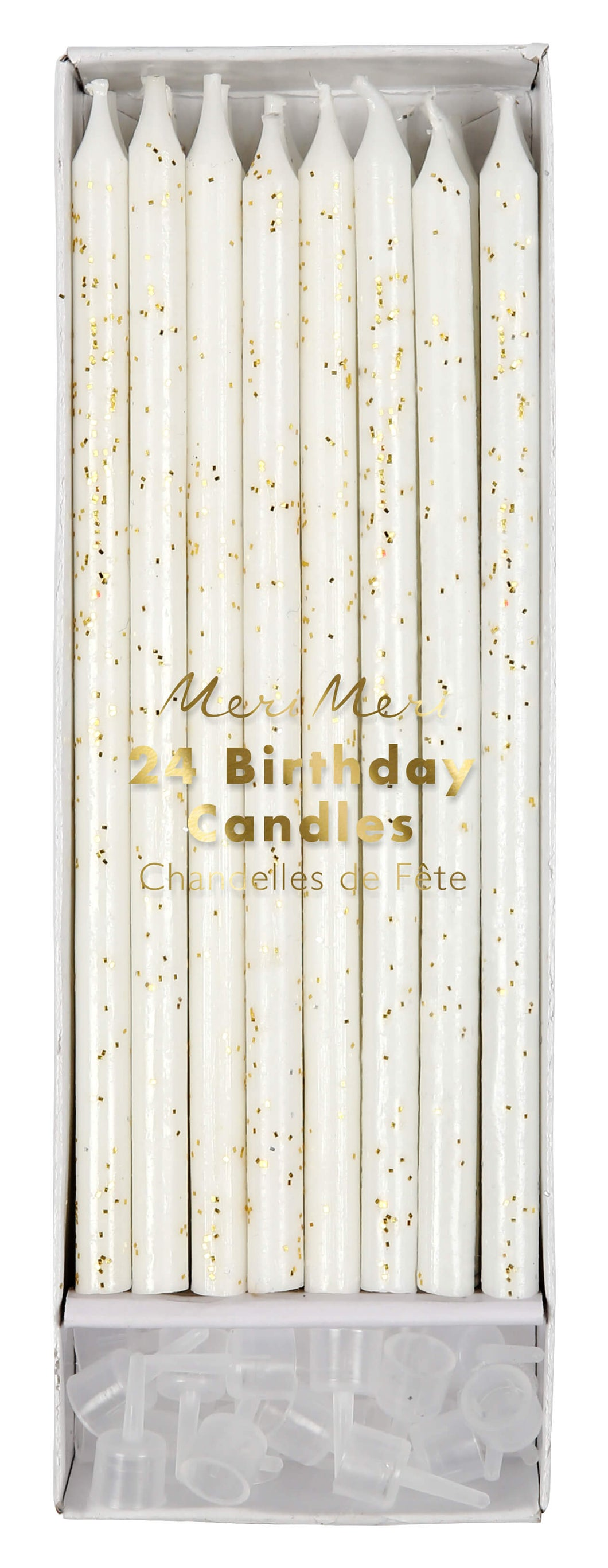 Long White Gold Glitter Cake Candles - Meri Meri