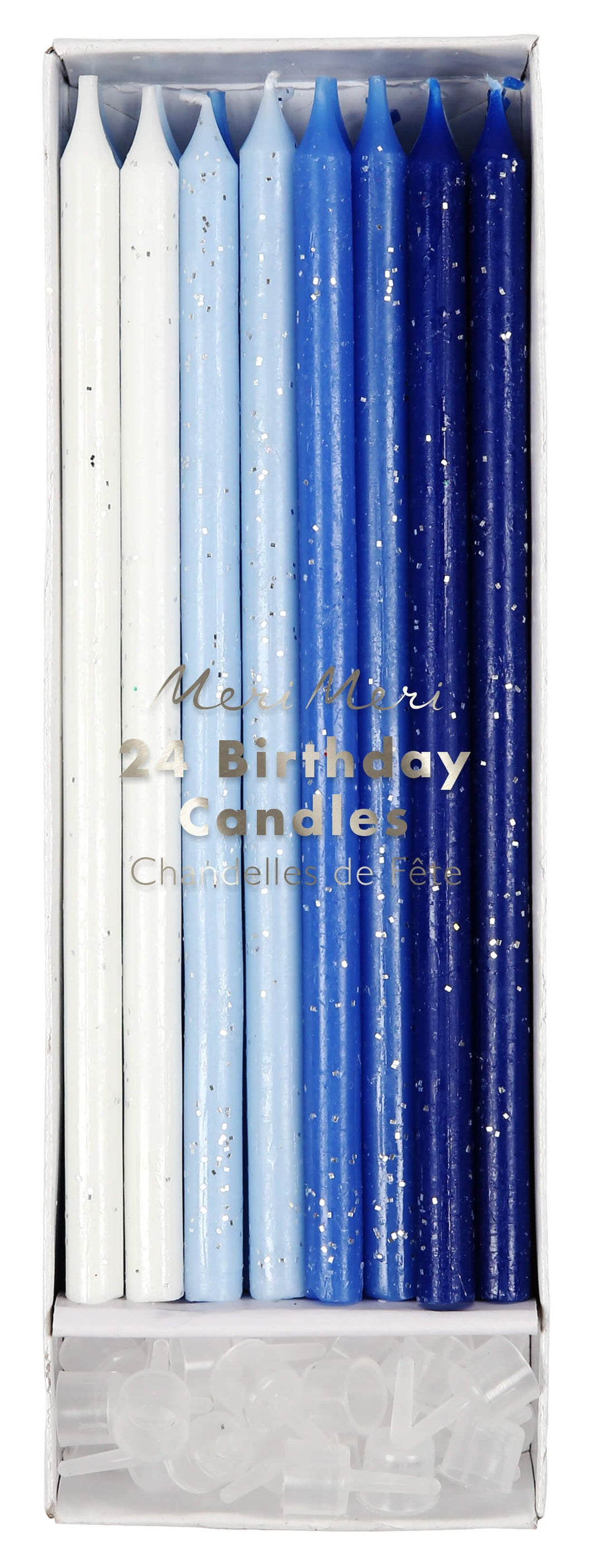 Long Sparkling Ombre Blue Cake Candles - Meri Meri