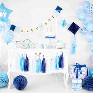 Mix of Blue, Purple and White Tassel Garland