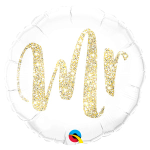 "Mr. Glitter Gold 18"" Foil Balloon"
