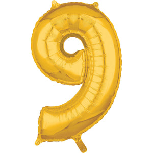 "Air Filled 16"" Gold Number Balloons"