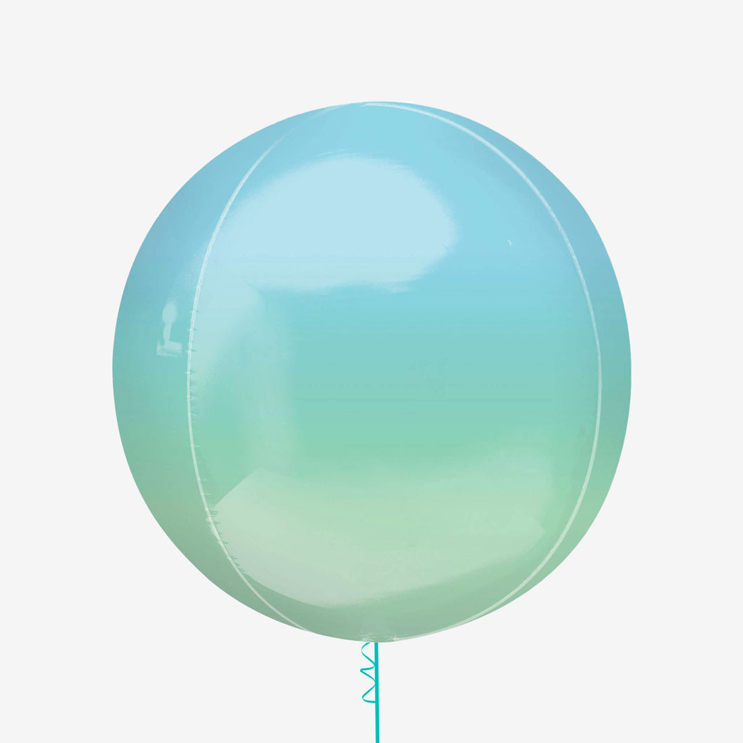Ombre pastel blue and green Orbz balloon