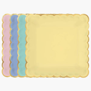 Multicolor Pastel Scalloped Dessert Paper Plates