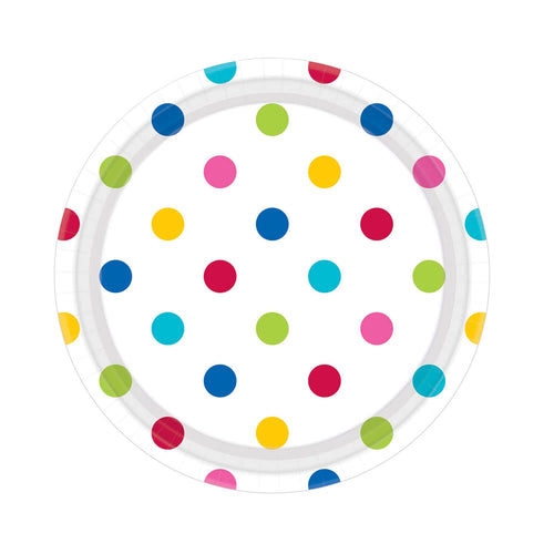 Small Rainbow Dots Paper Plates (8 pack)