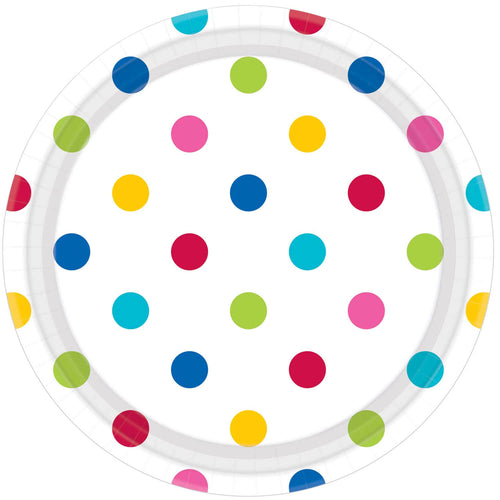 Large Rainbow Dots Paper Plates (8 pack)