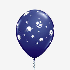 6 Space Themed Latex Balloon blue