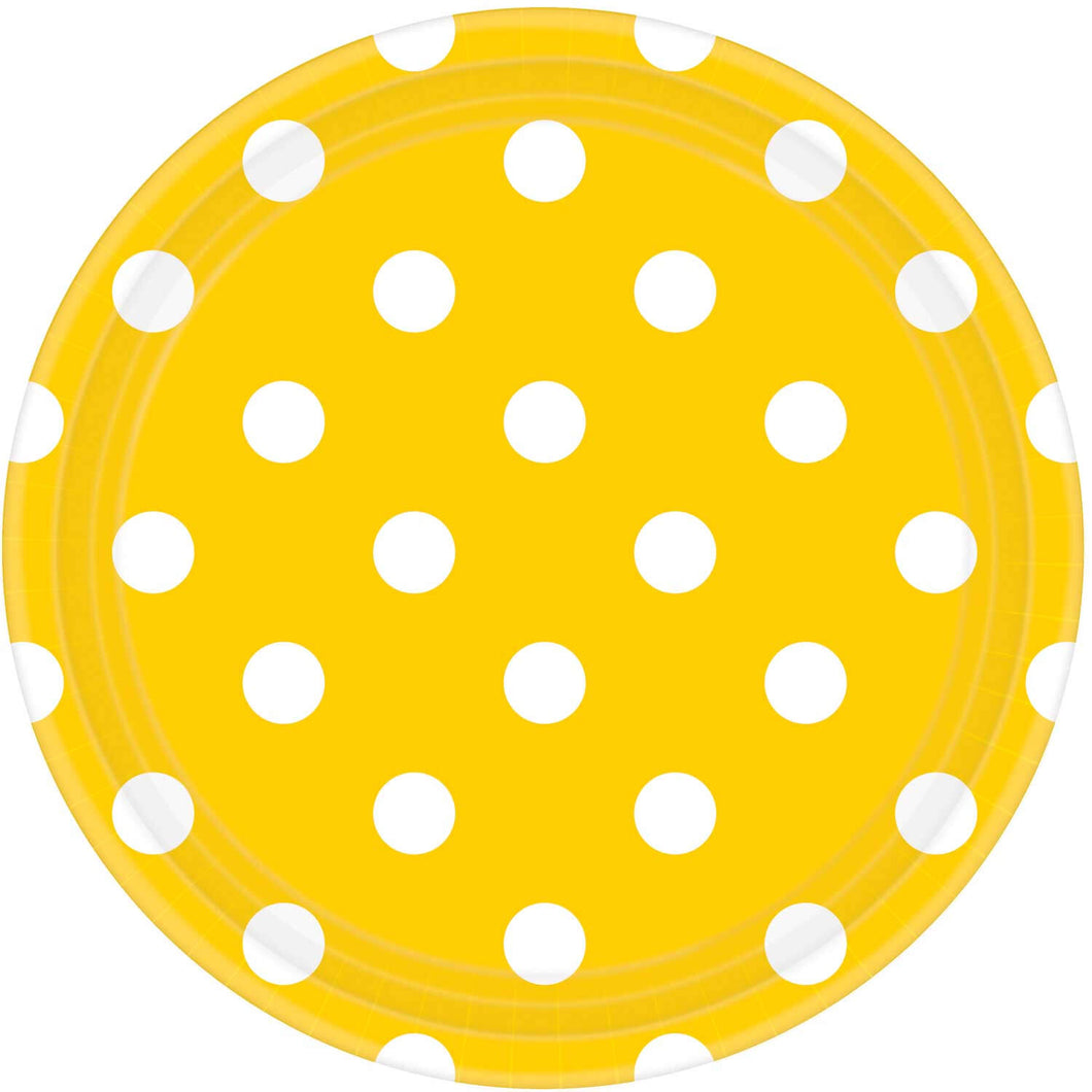Sunshine Yellow Dots Paper Plates (8 pack)