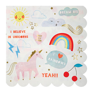 Rainbow and Unicorn Napkin - Meri Meri