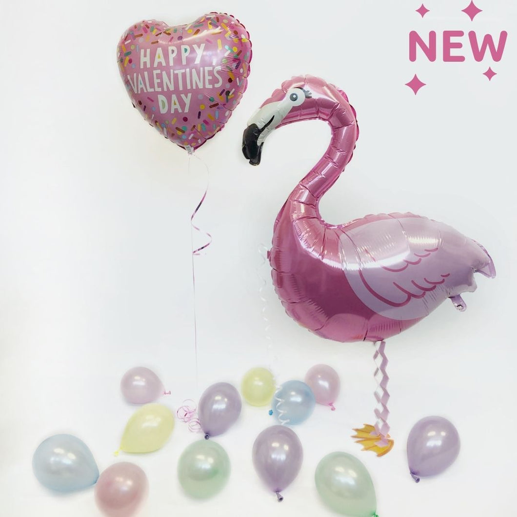 Valentines Inflated Walking Pet Flamingo Balloon in a Box