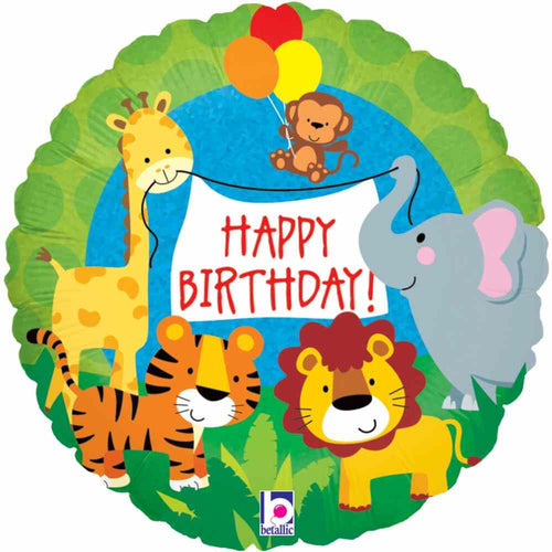 Jungle Animals Foil Birthday Balloon