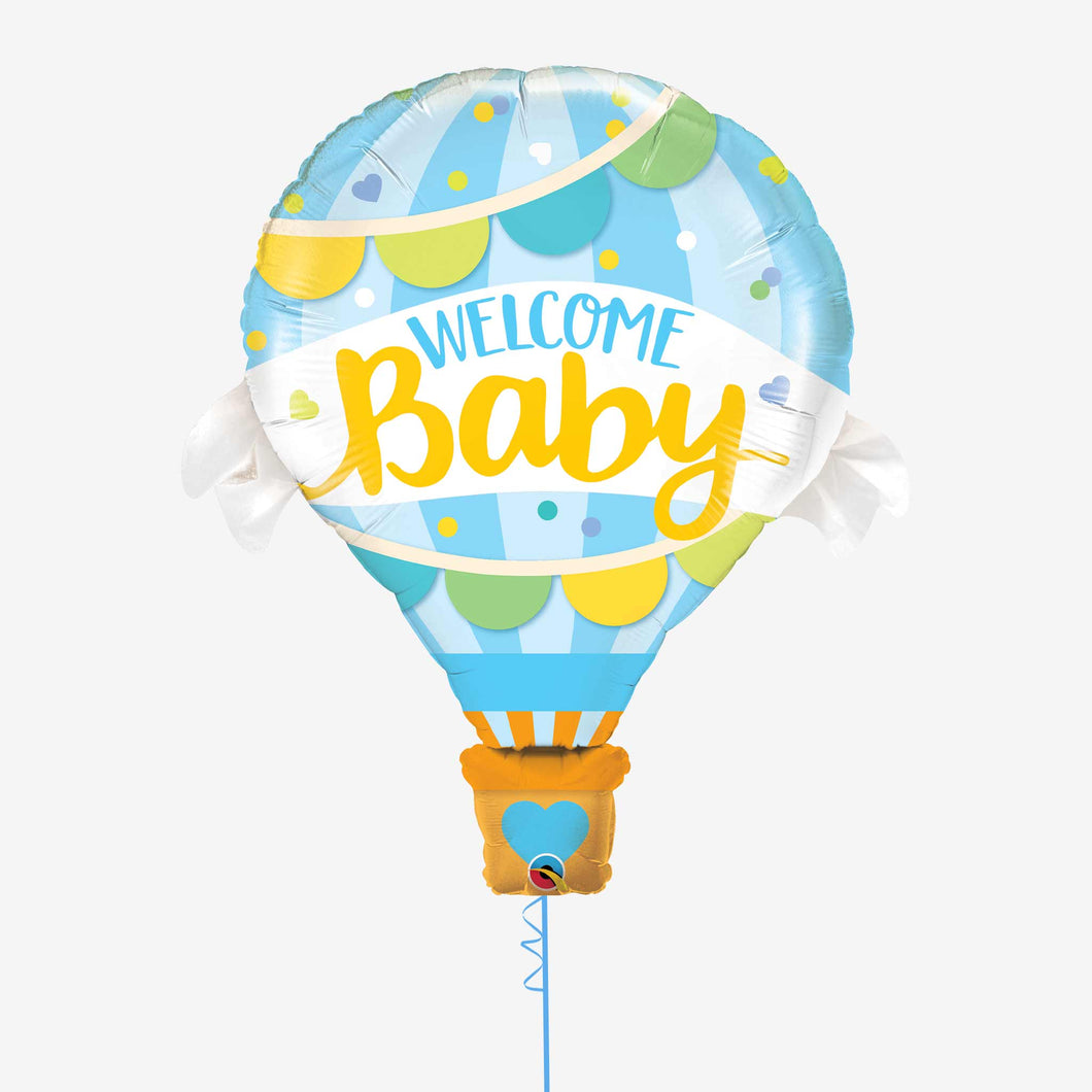 Welcome Baby Blue Foil Balloon