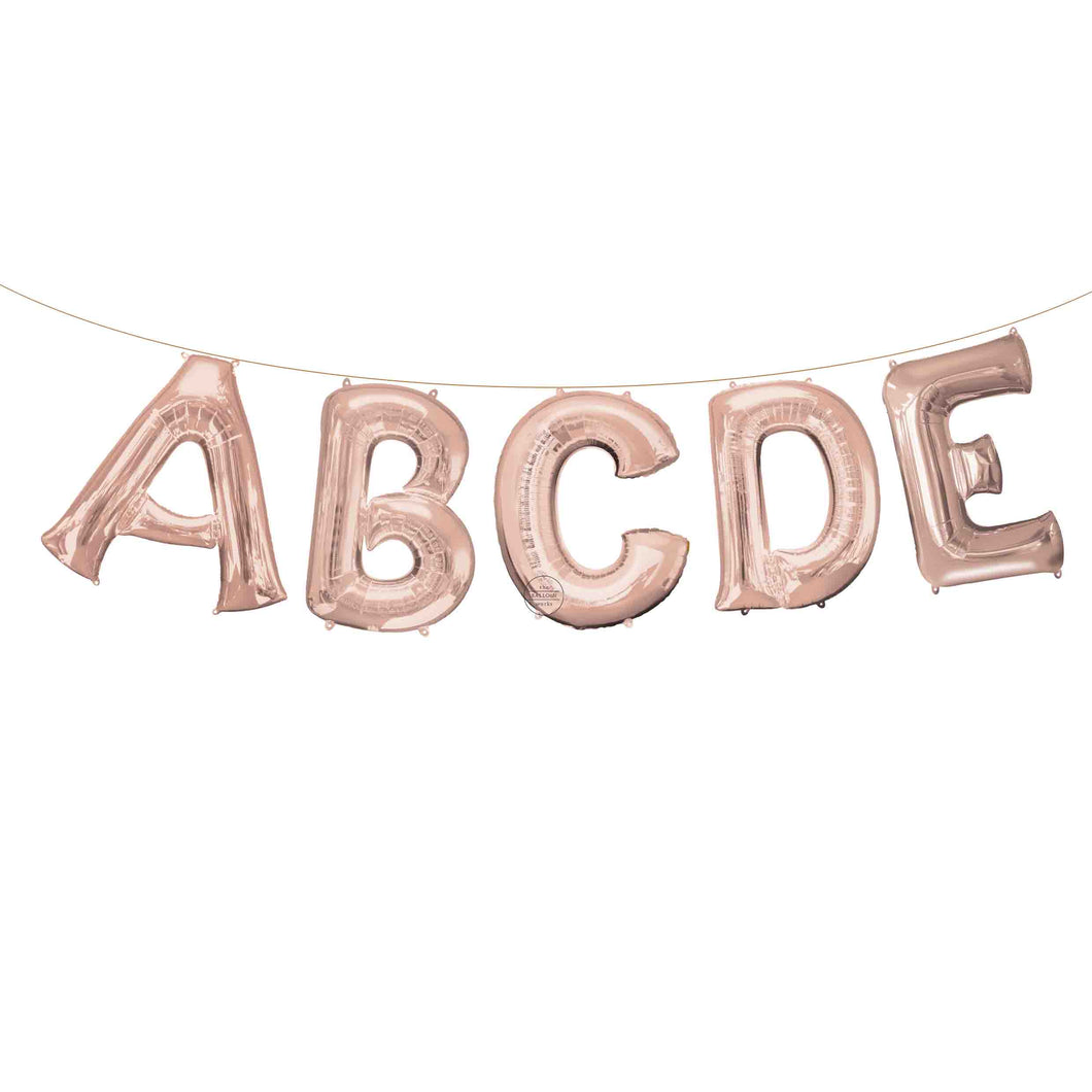 Air Filled Rose Gold Letter Balloons 16