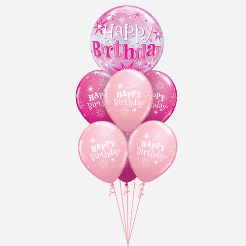 Pink Bubble Birthday Balloon Bouquet