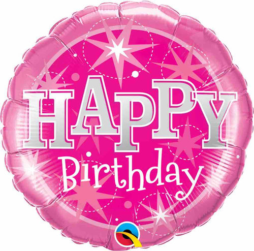 Birthday Pink Sparkle Foil Balloon