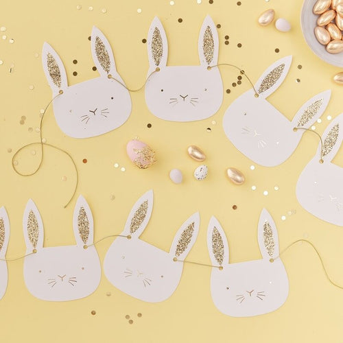 Gold Glitter Easter Bunny Bunting