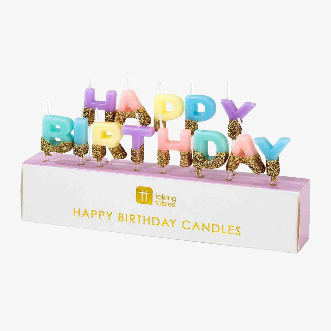 Pastel Happy Birthday Candles