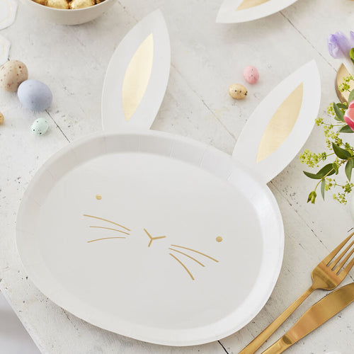 Gold Foiled Easter Bunny Paper Plates