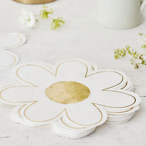 Easter Napkins Daisy Shaped with Gold Foil