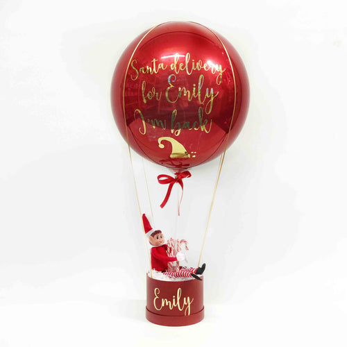 Personalised Elf on a Box Balloon Arrival