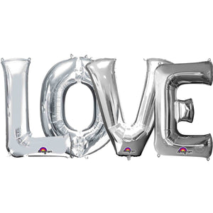 "Large ""LOVE"" Letters Silver 34"""