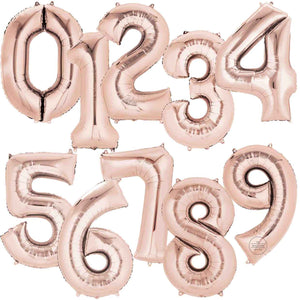 Rose Gold Foil Number Balloons 34""