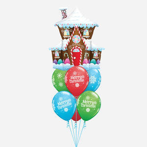 Christmas Gingerbread House Balloon Bouquet