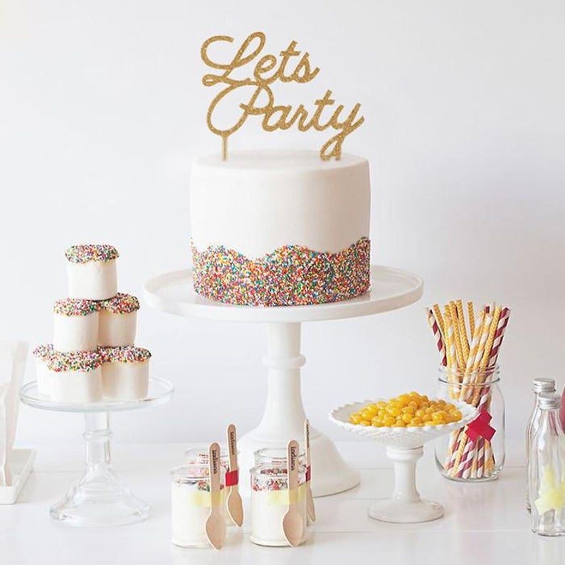 Let's Party Cake Topper Gold