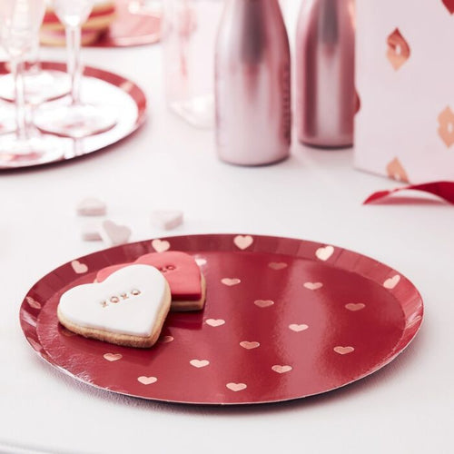 Rose Gold Valentines Heart Plates