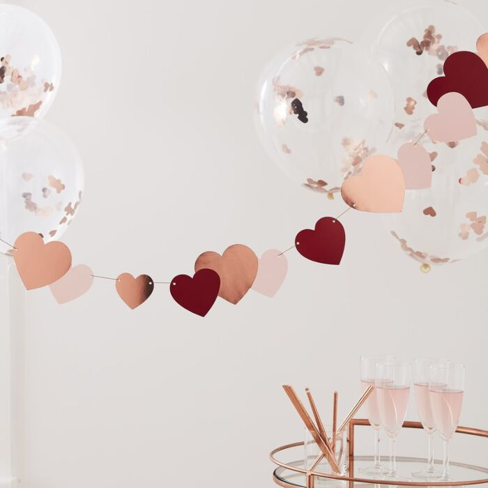 Rose Gold Heart Bunting Valentines Decoration